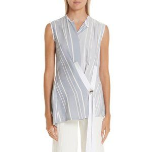 Yigal Azrouel Blue Shadow Stripe Wrap Top NWT